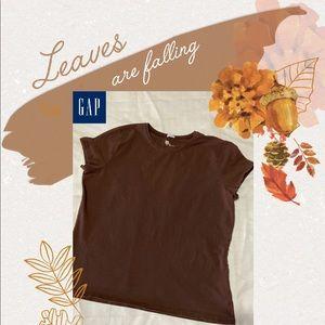 🍁 GAP Stretch Women's Brown Short Sleeve T-Shirt
